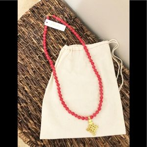 NWT Akola Red Beaded Necklace With Gold Cross